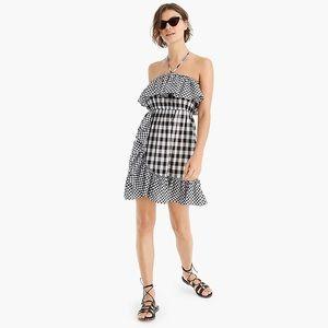 J Crew gingham ruffle strapless dress